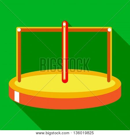 Merry go round icon in flat style on a green background