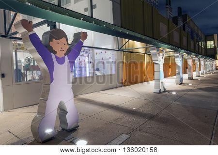 HOUSTON USA - APR 14: The Children's Museum of Houston illuminated at night. April 14 2016 in Houston Texas United States