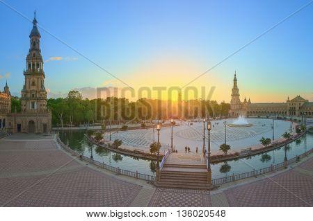 View of Spain Square on sunset, landmark in Renaissance Revival style, Seville, Spain.