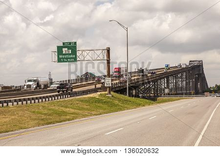 WESTLAKE USA - APR 15: The historic Calcasieu River through truss iron bridge from 1951. April 15 2016 in Westlake Louisiana United States
