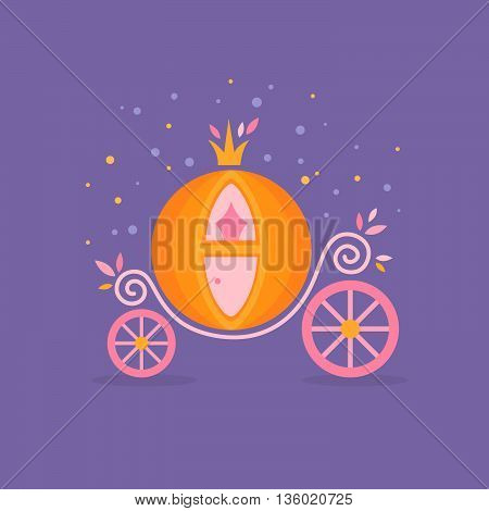 Pumpkin carriage for Cinderella cartoon fairy-tale flat illustration isolated with decorative ornate elements