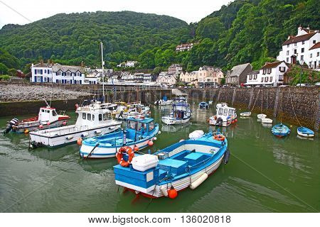 A damp Devon day in Lynmouth a small fishing and tourist village on the North coast of the Devon in the UK