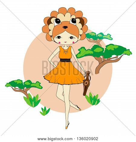 Cute little girl in a suit of lion with a vase. Character design illustration. Forest background. Halloween. Masquerade. Print for children. Background for kids