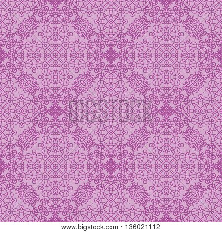 Seamless Texture on Pink. Element for Design. Ornamental Backdrop. Pattern Fill. Ornate Floral Decor for Wallpaper. Traditional Decor on Pink Background