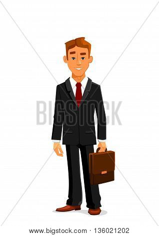 Handsome young cartoon businessman in elegant black suit with red tie is standing with leather briefcase in hand. Great for business people avatar and office workers design