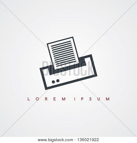 printer computer icon sign logotype theme vector art illustration