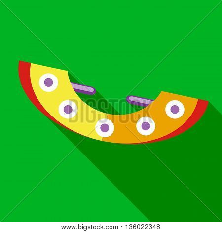 Yellow seesaw icon in flat style on a green background