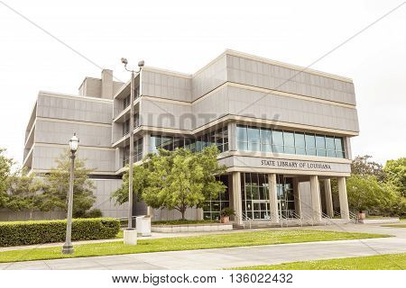 BATON ROUGE USA - APR 15: The State Library of Louisiana building in the city of Baton Rouge. April 15 2016 in Baton Rouge Louisiana United States