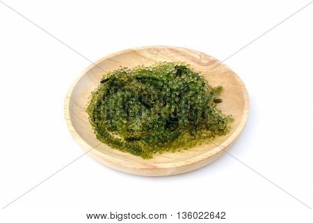 Sea Grapes (Caulerpa Lentillifera) seaweed isolated on white
