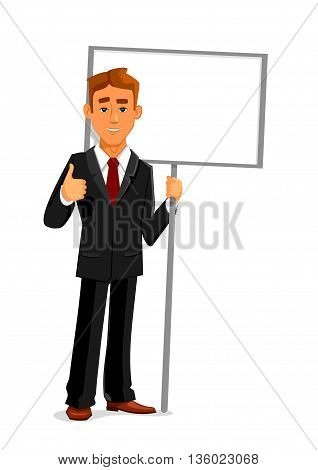 Cartoon smiling businessman is holding a blank sign board with copy space and showing thumb up sign. Business concept for advertising, presentation or announcement design