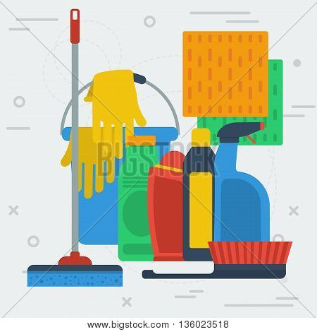 Vector square banner of cleaning service or products. Bucket, broom, glass spray and other items in flat style