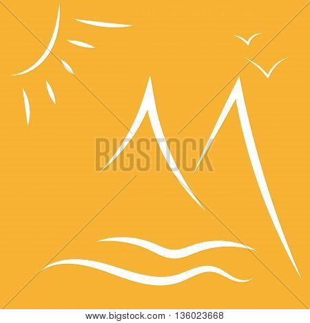 Vector illlustration on orange background. Line drawings. Silhouette of mountains, sun and sea.