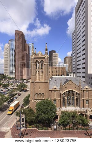 Church in Houston downtown district. Texas United States