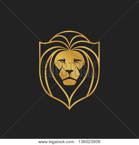 Lion head vector logo or icon in one color. Golden shield. Security concept - vector illustration.