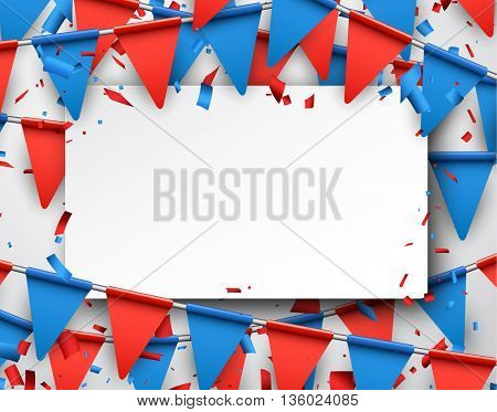 Festive background with red and blue flags. Vector paper illustration.