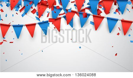 Festive background with flags and confetti. Vector paper illustration.