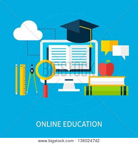 Online Education Flat Concept