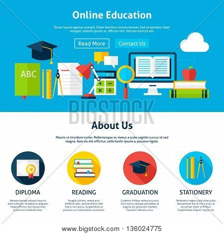 Online Education Flat Web Design Template