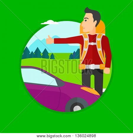 Young man with backpack hitchhiking on roadside. Hitchhiking man trying to stop a car on the road. Vector flat design illustration in the circle isolated on background.