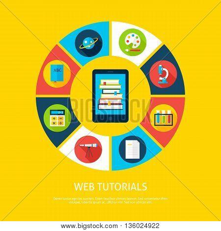 Web Tutorials Flat Infographic Concept