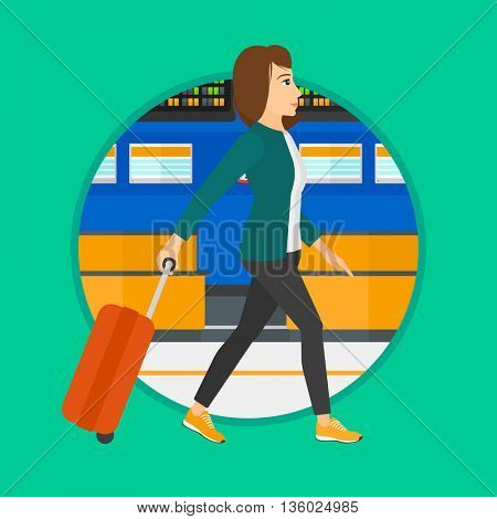 Young woman walking at the airport. Passenger with a suitcase walking on the background of schedule board at the airport. Vector flat design illustration in the circle isolated on background.