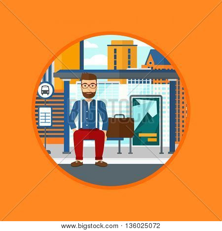 A hipster man with the beard waiting for a bus at a bus stop on a city background. Young man sitting at the bus stop. Vector flat design illustration in the circle isolated on background.
