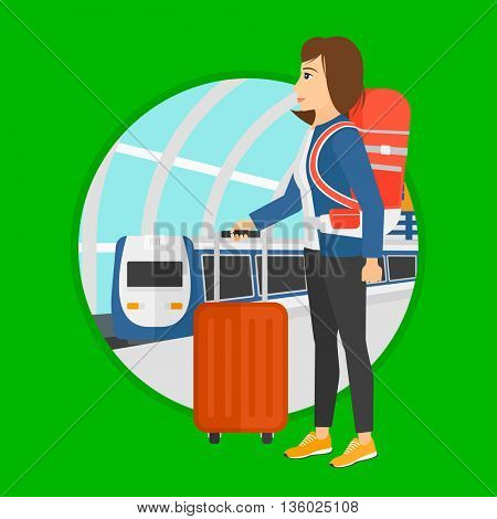 Woman standing at the train station on the background of arriving train. Young woman with suitcases waiting for a train. Vector flat design illustration in the circle isolated on background.
