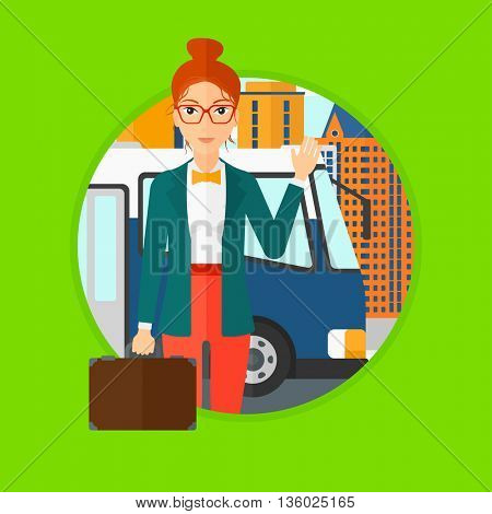 Woman with suitcase standing at the entrance door of a bus on a city background. Young woman waving in front of a bus. Vector flat design illustration in the circle isolated on background.