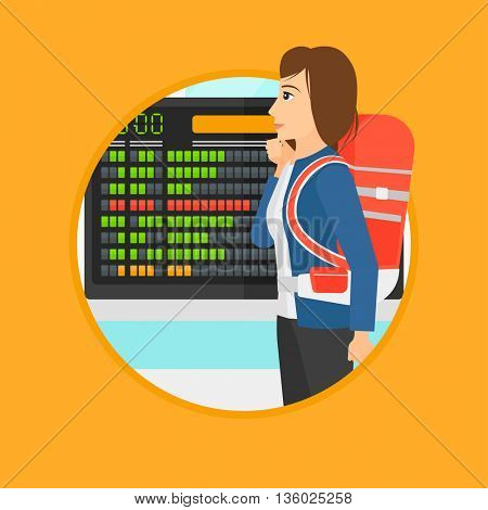 Woman with briefcase looking at departure board at the airport. Passenger standing at the airport in front of the departure board. Vector flat design illustration in the circle isolated on background.