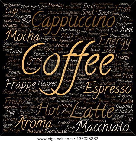 Vector concept conceptual creative hot coffee, cappuccino or espresso abstract square word cloud isolated on background