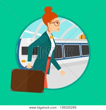Young woman walking on the train platform on the background of arriving at the station. Woman going out of train. Vector flat design illustration in the circle isolated on background.