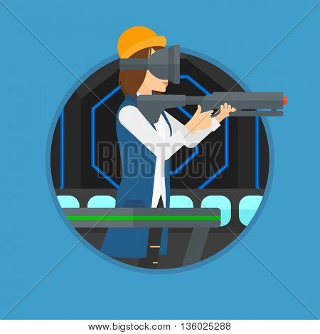 Young woman wearing virtual reality headset. Woman playing video game while standing on a treadmill with a gun in hands. Vector flat design illustration in the circle isolated on background.