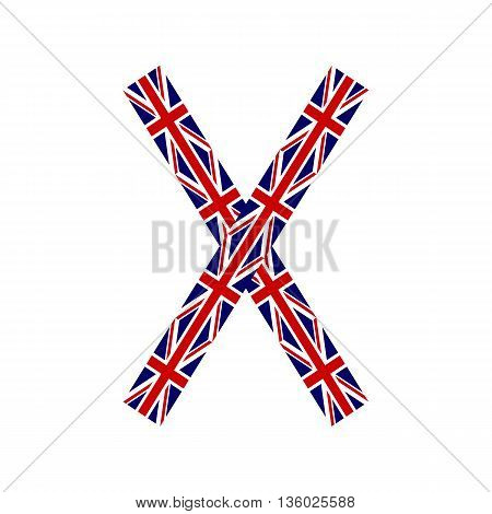 Letter X made from United Kingdom flags on white background