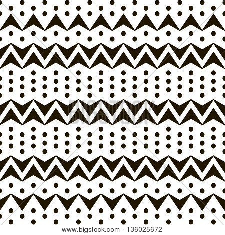 Abstract seamless black and white pattern of horizontal zigzags and dots. Simple contrast geometric ornament. Vector illustration for fabric, paper and other