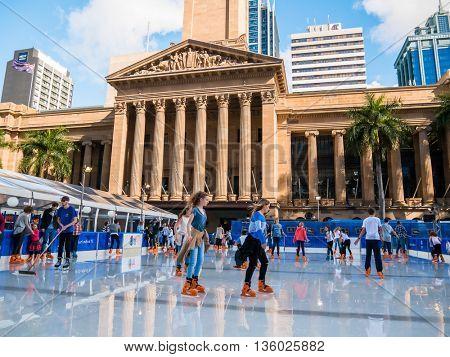 BRISBANE, AUS - JUN 24 2016: Winter Festival in Brisbane, outdoor ice-skating, King George Square