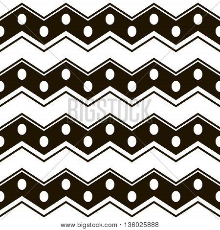 Abstract seamless black and white pattern. Wide horizontal zigzag stripes with circles. Simple contrast geometric print. Vector illustration for various creative projects
