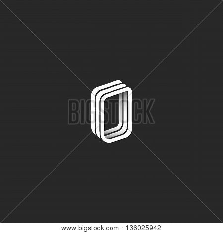 Isometric 3D Letter O Logo Monogram, Hipster Graphic Design Emblem For Wedding Invitation Or Busines