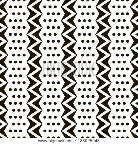 Abstract seamless black and white pattern of vertical zigzags with small circles. Simple contrast geometric print. Vector illustration for various creative projects