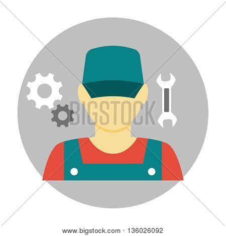 Mechanic avatar icon flat. Auto mechanic character