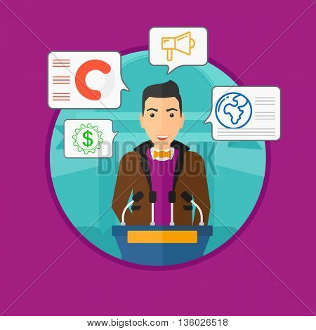 Speaker standing at podium with microphones at business conference. Speaker giving speech at podium and speech squares around him. Vector flat design illustration in the circle isolated on background.