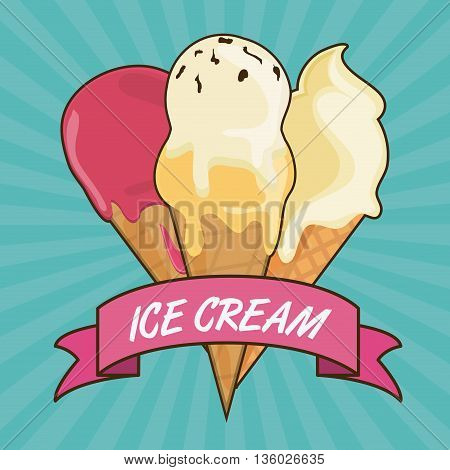 Dessert concept represented by vintage ice cream with ribbon icon. Colorfull and flat illustration