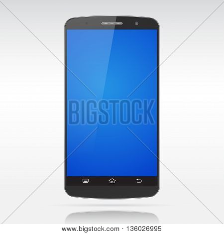 Black realistic isolated smartphone mockup with blue empty screen.