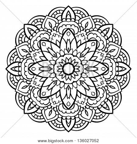 Vector black and white mandala. Ornament for coloring books. Round element for design. Oriental pattern.
