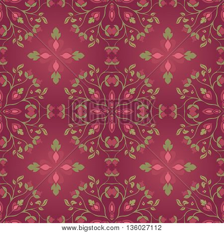 Burgundy floral ornament. Seamless pattern on a dark background. Template for textile shawl wallpaper carpet.
