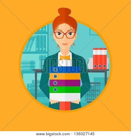 Young woman standing with pile of folders in the office. Office worker holding folders. Business woman carrying stack of folders. Vector flat design illustration in the circle isolated on background.