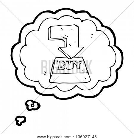 freehand drawn thought bubble cartoon computer key buy symbol