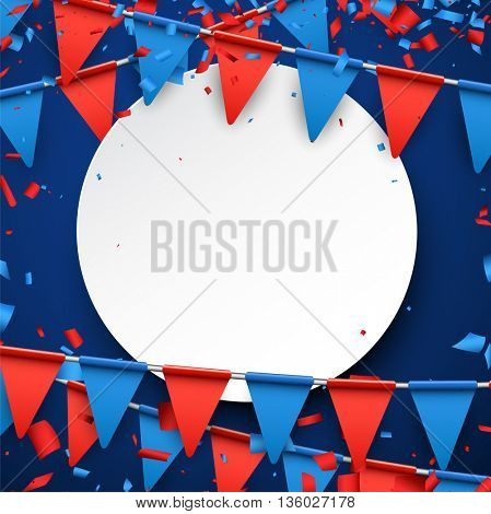 Round background with red and blue flags. Vector paper illustration.