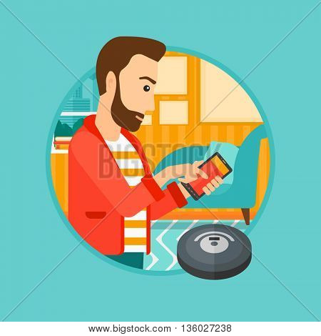 A hipster man controlling robot vacuum cleaner with his smartphone. Man holding remote control of robotic vacuum cleaner. Vector flat design illustration in the circle isolated on background.