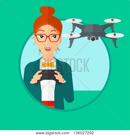 Young woman flying drone with remote control. Happy woman operating a drone with remote control. Woman controling a drone. Vector flat design illustration in the circle isolated on background.