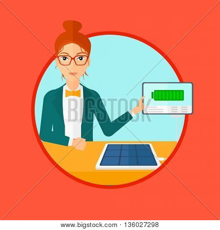 Young woman charging tablet computer with solar panel. Charging tablet from portable solar panel. Tablet with a battery charging. Vector flat design illustration in the circle isolated on background.